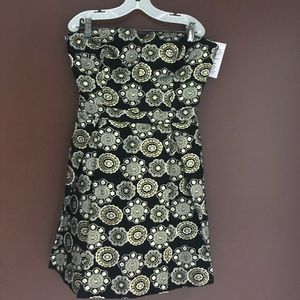 Black & Gold Brocade short Dress